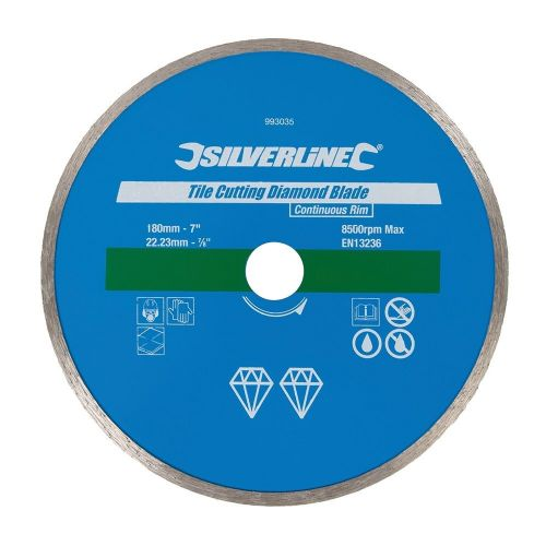 Silverline 993035 Tile Cutting Diamond Blade Disc 180mm x 22.23mm Continuous Rim